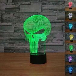 3D Skull Glowing LED Touch Light 7-Color Changing Lamp