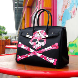 Magnificent Genuine Leather Graffiti Skull Designer Handbag