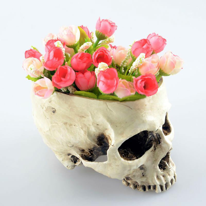 Fancy Skull Flower Pot
