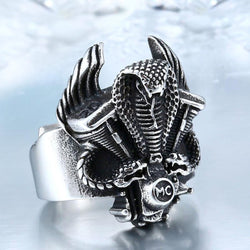 New Motorcycle Club Double Snake Ring