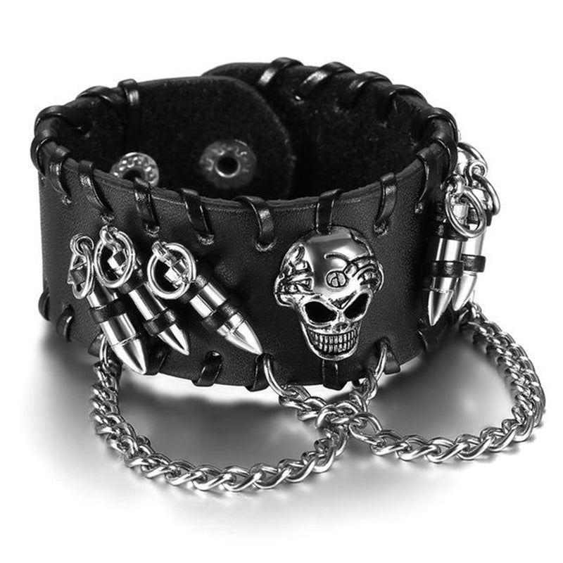 Awesome Punk Rock Black Wide Skull Leather Bracelet