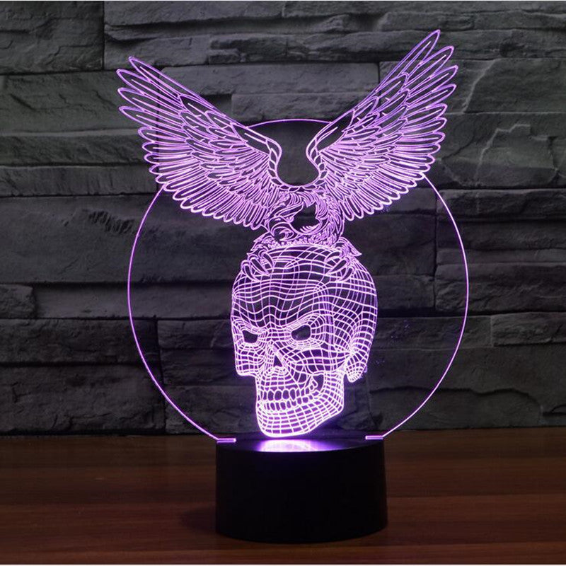 3D Acrylic Skull and Eagle Shaped Lamp