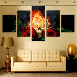 Red Rose And Fire Skull Canvas Wall Art
