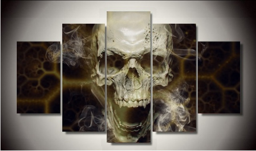 Roaring Skull Abstract Canvas Art