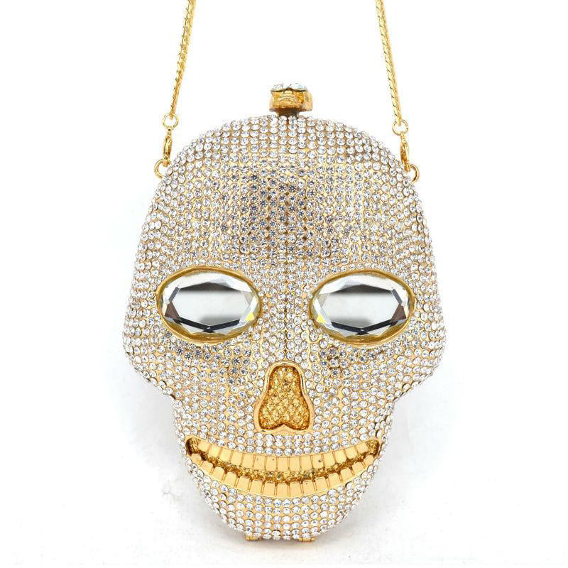 100% Handmade Luxury Skull Crystal Bag