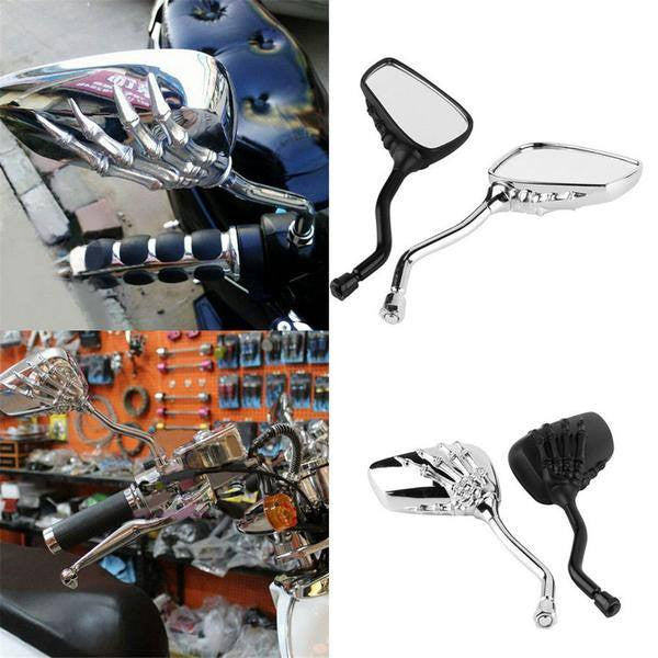 Skeleton Skull Hand Motorcycle Side Mirrors With Bolts - 8mm/10mm