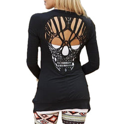 Skull Hollow Out Women's Long Sleeve Cardigan