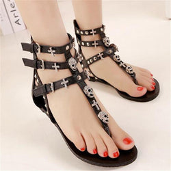 Hot Selling Roman Skull Cross Toe Post Gladiator Sandals