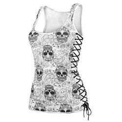 Stunning Skull Sleeveless White Top