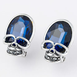 2018 Blue Crystal Rhinestone Skull Earrings