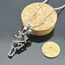 Silver Plated Skull Couple Chain Pendant Necklace