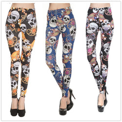Women's Sexy 3 Color Skull Leggings