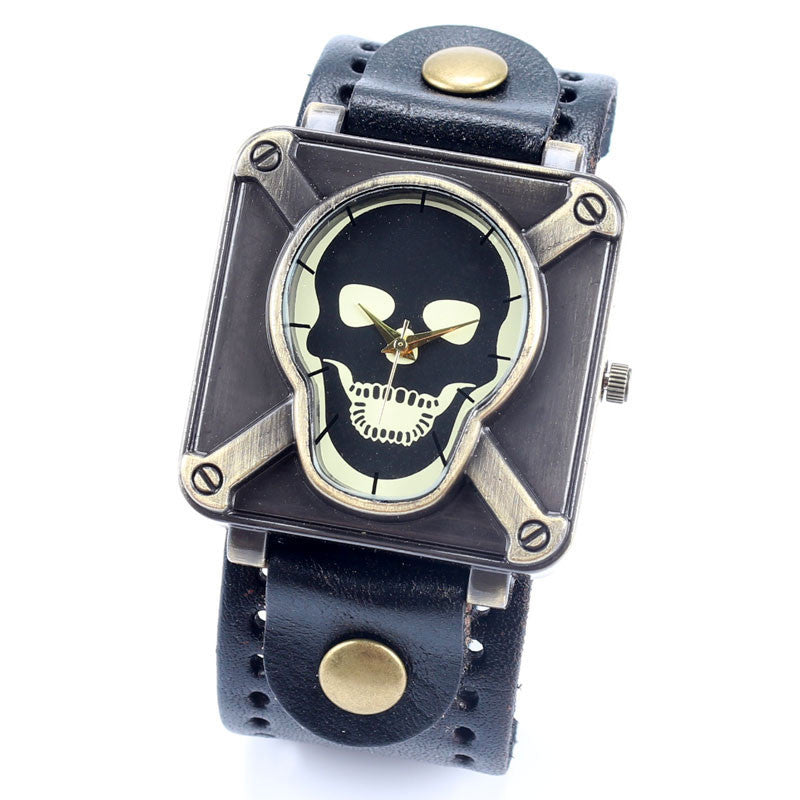 4 Color Leather Strap Punk Skull Wrist Watch