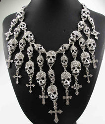 Fabulous Crystal Skull Cross Neclace