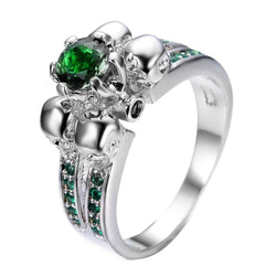 Spectacular Skull Green CZ Ring