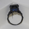 Elegant Black & Blue Diamond Skull Ring