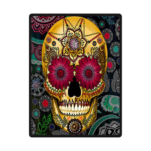 Sugar Skull Printed Soft Fleece Blanket
