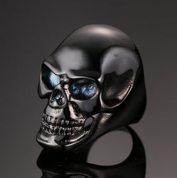 Dark Black Men's Skull Motorcycle Biker Ring