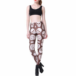 Women's Flowers and Skulls Printed Leggings