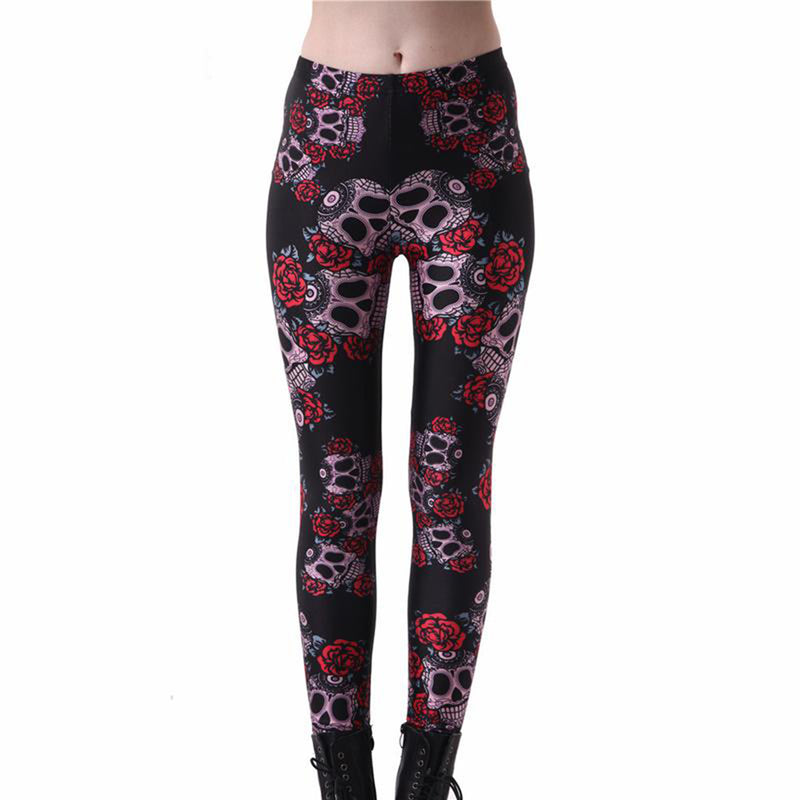 Stylish Leggings with Digital Printed Skulls and Flowers