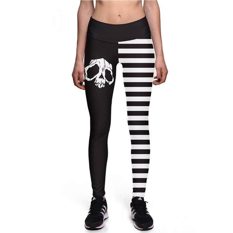 Women's Cool Striped Skull Sports Leggings