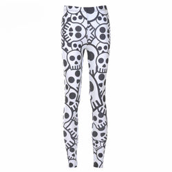 Cutest Plus Size Skull Printed Leggings-