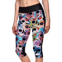 SEXY Hot Women's Colorful Skull Leggings with Side Pocket