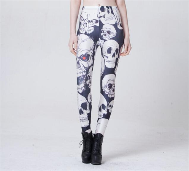 Women's Dashy Leggings with Red Eyed Skull Print