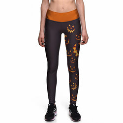 Fashionable Evil Smiley Pumpkin Halloween Leggings