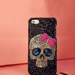 Cute Rhinestones and Metal Skull Pink Bow Hard Cover Phone Case For Apple iPhone