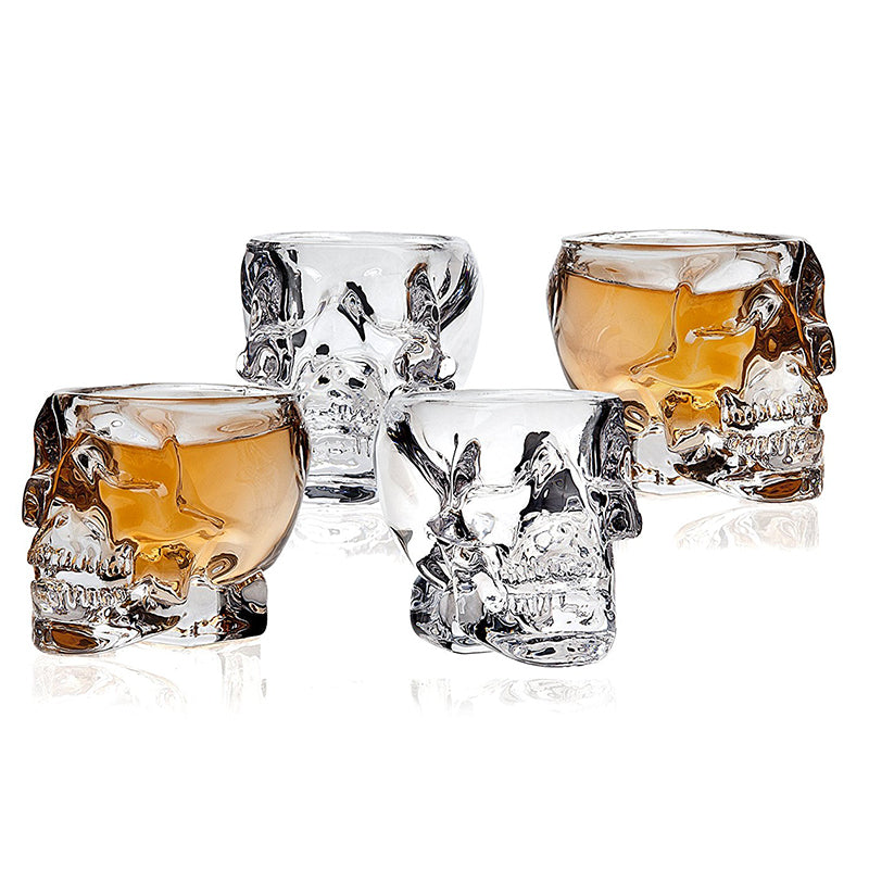 Stunning Skull Whiskey Glass Set of 4