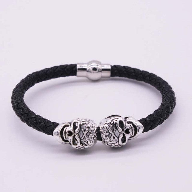Fashionable Braided Leather Skull Bracelet