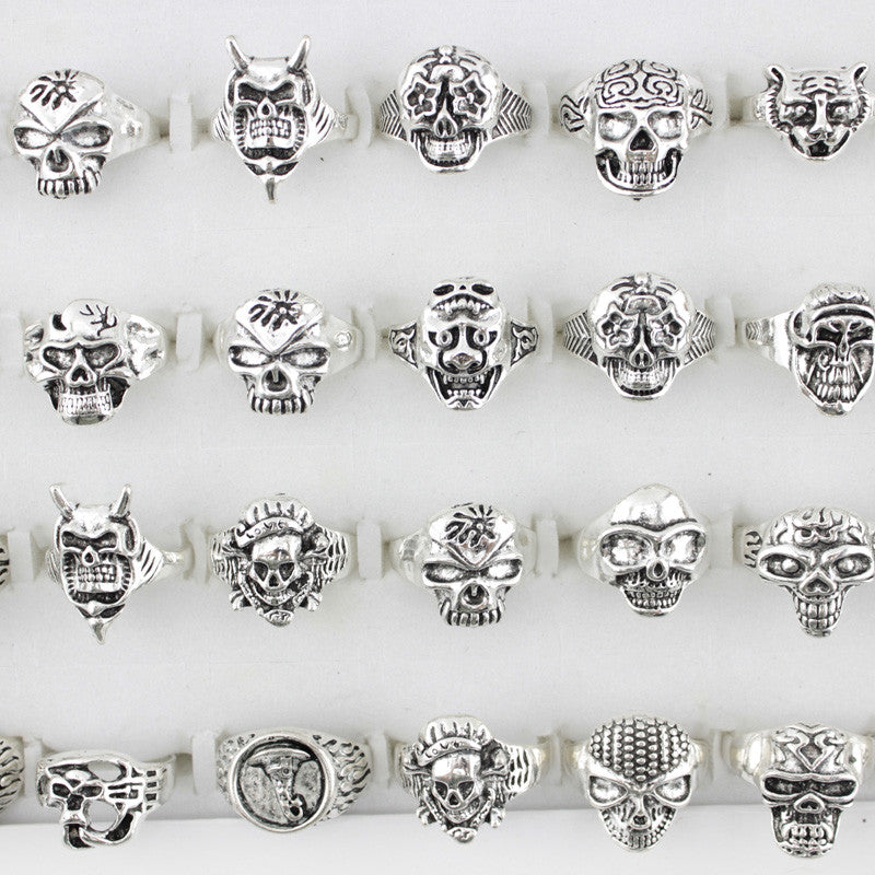 Unique Design Punk Skull Rings 25 Pieces Set