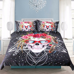 3 Pcs Skull with Red Glasses Duvet Cover Set