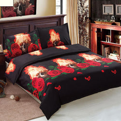 3D Skull Bedding Set 4pcs Comfortable Twin Queen King