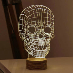 Touch Dimmer 3d Wood Skull Lamp Night Light USB