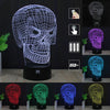 Skull 3D LED Touch Night Light 7 Colors Changing USB