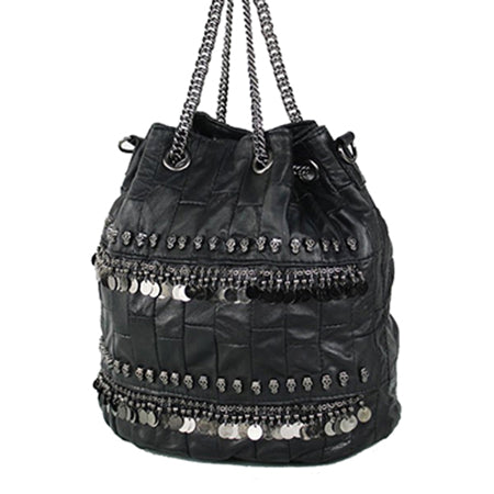 Skull Genuine Leather Bag for Women with Chain Handle