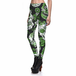 Women's Green Skull Sexy Fashion Leggings