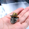 Hot Selling Stainless Steel Gold Plated Skull Cool Bikers' Ring