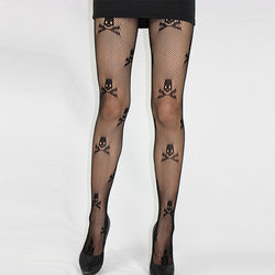 Cool Skull Fishnet Stockings Crossbones