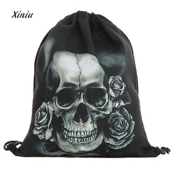 Unisex Cool Black Skull Cloth Backpack