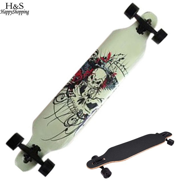 Skull Pattern Skateboard 4 Wheels - Anti-Shock