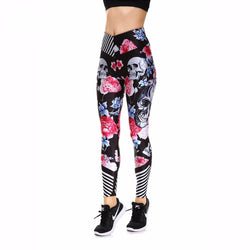 Stylish Flowers and Skulls Women's Leggings