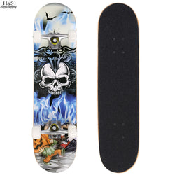 Awesome Colorful Skull Skateboard