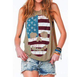 Women's Hot Skull Printed Sexy Sleeveless American Flag T-Shirt