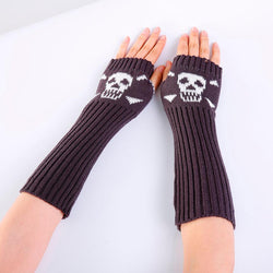 2018 New Fashion Skull Knitted Long Fingerless Gloves