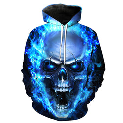 NEW Unisex 3D Skull Printed Pullover Hooded Sweatshirt