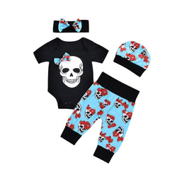 4 Pcs Sweet Skull Baby Clothing Set