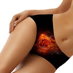 Fire Rose Sexy Seamless Panties Black Punk Style - Skullseeker Special